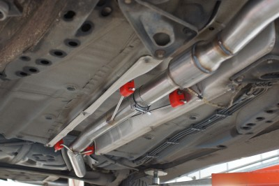 "Poly Exhaust Mounts on Astra H VXR 3"" Centre Section"