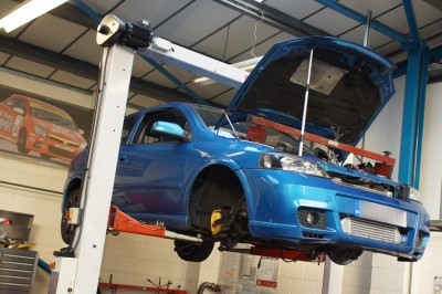 Astra G GSi Turbo with engine bed and gearbox removed.