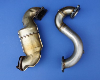 OE Pre Cat (Left) Pre Cat Removal Pipe (Right)