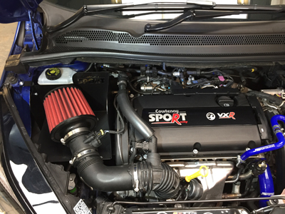 Corsa E VXR engine bay with CSR MaxAir Intake System 70mm