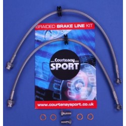 Braided Brake Line Hoses Front - Corsa D 1.6 Turbo