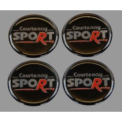 Courtenay Sport Racing Wheel Centre Badges Domed 45mm Set 4