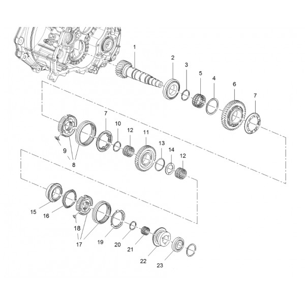 M32 Lower Mainshaft Shaft and Associated Components